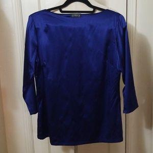 LIZ CLAIBORNE blue silk 3/4 sleeve top blouse